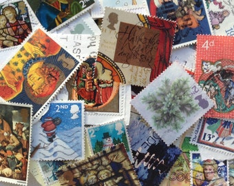 30 Assorted UK Christmas Postage Stamps - Collage - Cards - Smash Books - Junk Journals - Decoration
