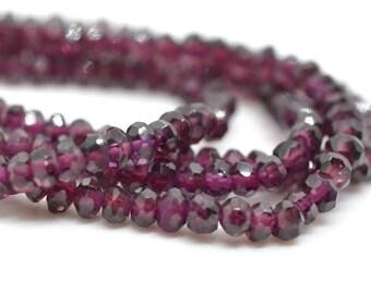 Rhodolite Garnet Rondelles, 3mm to 3.5mm,  January Birthstone, Deep Red, Raspberry Pink Faceted AAA Quality KJ