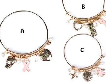 Breast Cancer Pink Ribbon Charm Bracelet