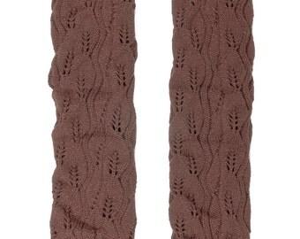 Women Knit Lace Long Button Leg Warmers, Boot Socks, Leg Sweaters, Cable Knit Socks-Medium Brown