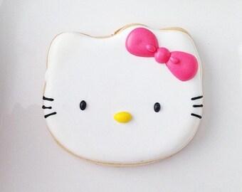 Hello Kitty Cookies - 1 Dozen (12) Baby Shower Favor - Birthday Gift