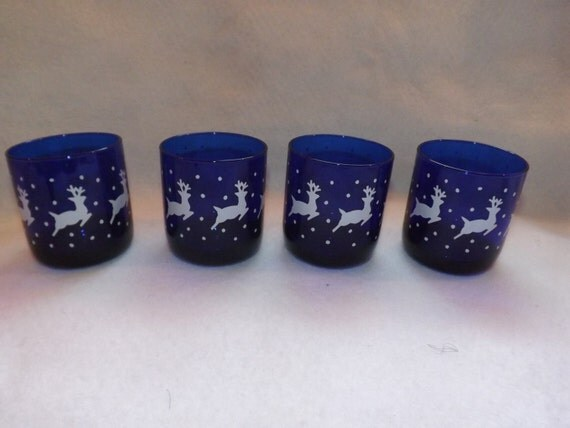 Vintage Set Of 4 Libbey Christmas Cobalt Blue Tumblers Or