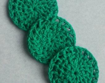 Green crochet cotton pad, cotton round, reusable cotton pad, washable cotton round, crochet pad, facial pad, face scrub, face scrubbie