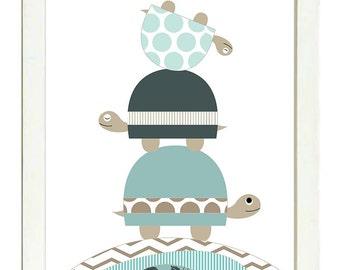 Turtle Nursery Art Nursery Print Baby Art Baby Animal Turtle Brown Beige Blue Polka Dots Chevron Stripes Wall Art Nursery Decor