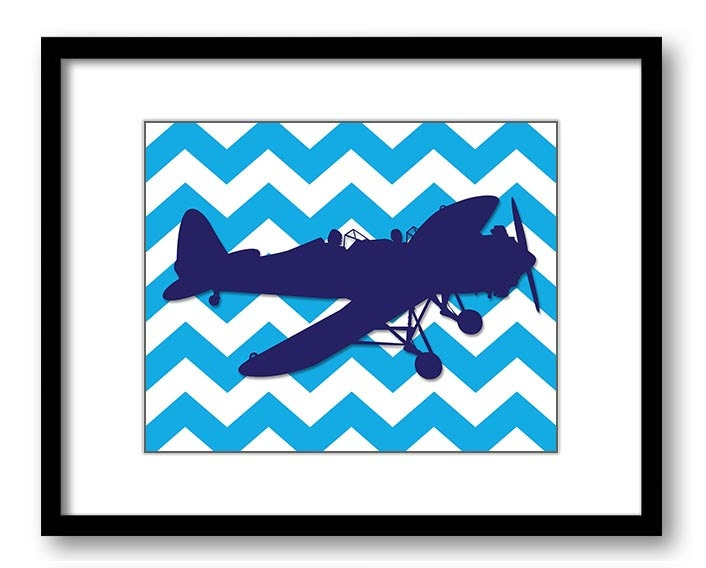 Blue Airplane Turquoise Chevron Boys Art Print Nursery Art Nursery Print Child Baby Art Print Boys K