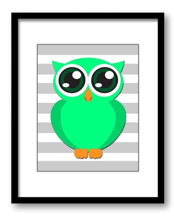 Lime Green Owl Nursery Art Nursery Print Baby Art Grey Stripes Baby Animal Owl Blue Print Boys Wall