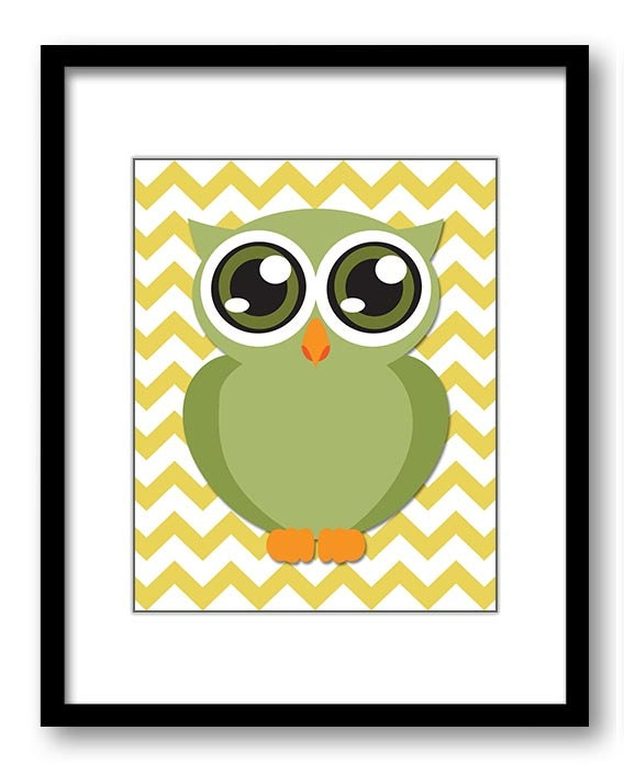 Owl Nursery Art Nursery Print Baby Art Yellow Chevron Baby Animal Owl Sage Olive Green Print Boys Wa