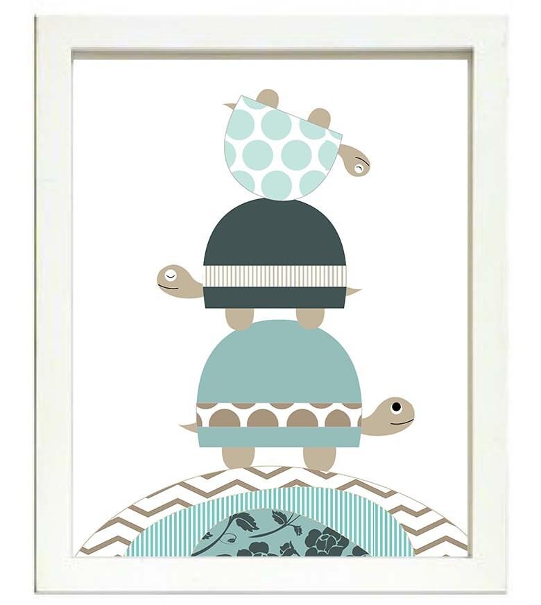 Turtle Nursery Art Nursery Print Baby Art Baby Animal Turtle Brown Beige Blue Polka Dots Chevron Str