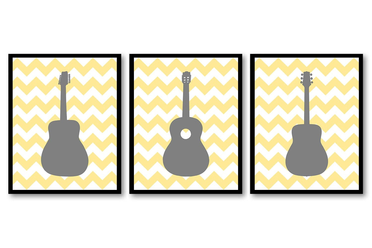 Guitar Nursery Art Nursery Prints Set of 3 Prints Grey Gray Yellow ...