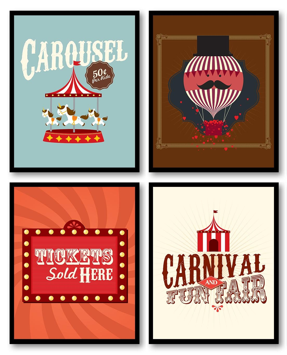 Carnival Nursery Art Fair Nursery Print Child Baby Art Set of 4 Circus Tent Tickets Hot Air Balloon