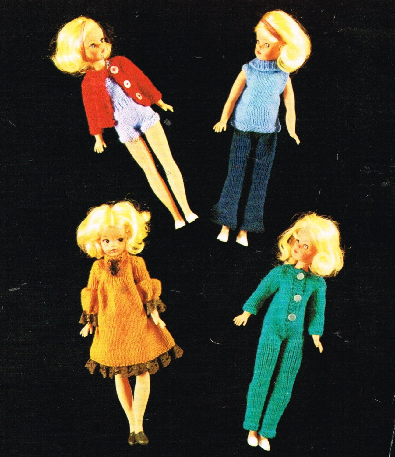 Vintage Knitting Patterns Dolls Clothes : 12 teenage Dolls clothes knitting pattern.Vintage copy.