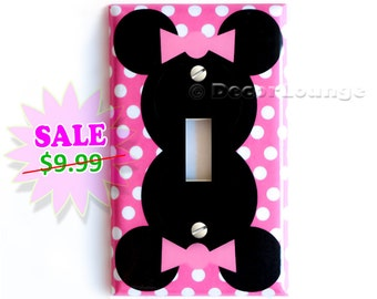 SALE NOW Minnie Mouse pink bow polka dots light switch cover plate children play girls game corner room bedroom art decor decoration
