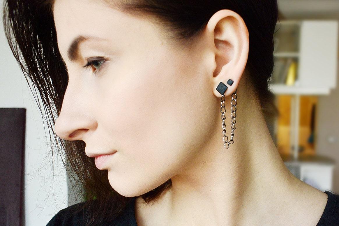 cartilage earring black double piercing earring double