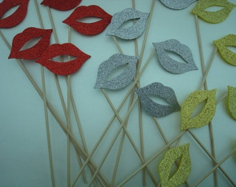 Photo Booth Props Lips Silver Gold and Red Lips Lips Free Shipping