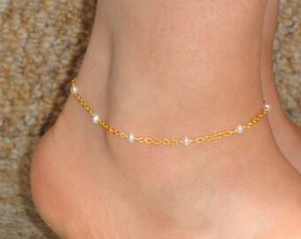 Freshwater pearl anklet, Gold pearl anklet, Pearl ankle bracelet, Ankle jewelry, Gold ankle bracelet Ankle bracelet UK, Gifts