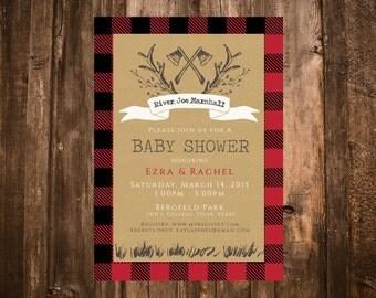 Lumberjack Baby Shower Invitation; Red Buffalo Plaid; Printable or set of 10