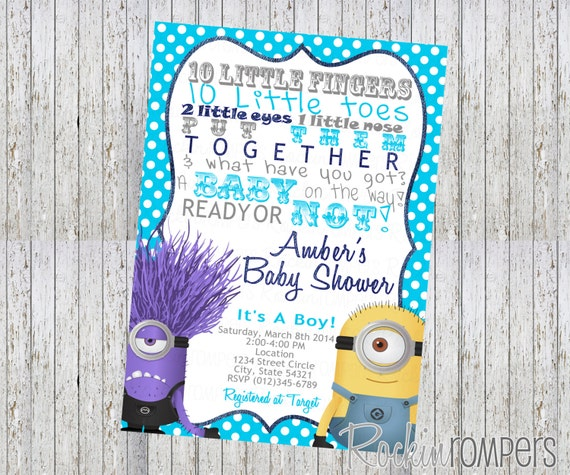 evil minion inspired baby shower invitation 4x6 by rockinrompers