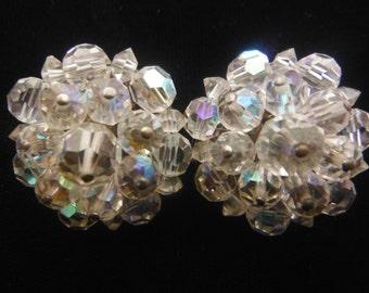 Crystal Earrings; Pat.Pend., Vintage 1950's