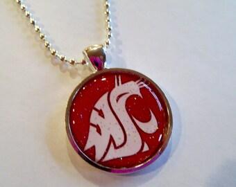 Wsu Cougars Glitter Cameo Necklace