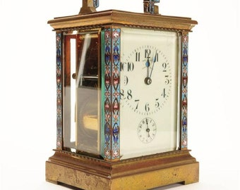 19th Century Fabulous French Gilt Brass & Champleve Carriage Clock-Rare