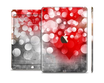 The Bright Unfocused White & Red Love Dots Skin Set for the Apple iPad (All Models Available)