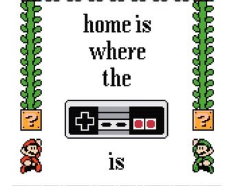 Home is where the NES is Cross stitch pattern PDF