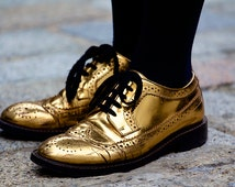 Ready to frame: Golden shoes at London Fashion Week. Mounted/ mat photo. Special rate shipping. 8x10 photo. A4 photo.