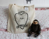 Illustrated Sloth Enthusiast Eco Tote Bag