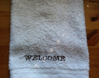 "Custom Embroidered Hand Towel ""Welcome"""
