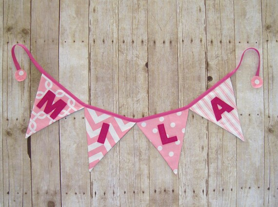 Name Banner / Pink Banner / girls name sign / party bunting / pretty pink bunting / Name Flags / girl Banner / Last Name Banner / wedding