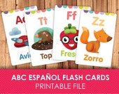 Spanish Flashcards for Kids / Printable Flash Cards / ABC Flash Cards / Alphabet / Printable Alphabet / Printable & instant download