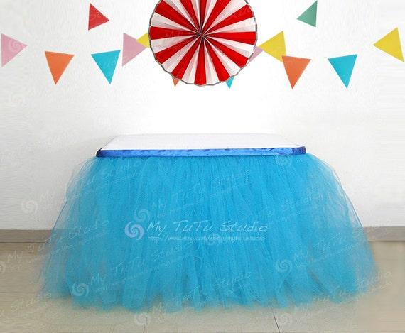 turquoise blue tulle table tutu skirt for baby by mytutustudio