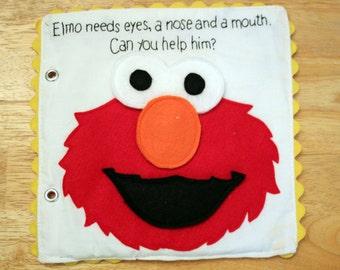 Felt Elmo Sesame Street Build A Face Quiet Book Pattern