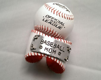 Hand Stamped Leather Baseball Cuff Bracelet-Baseball Mom Leather Cuff