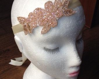 Ivory ribbon beaded bridal headband fascinator 1920s flapper headband Gatsby style