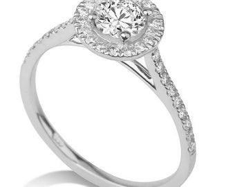 Micro Pave Moissanite Engagement Ring, 14K White Gold Ring Accented Halo Promise Ring, 0.73 TCW Forever One Moissanite