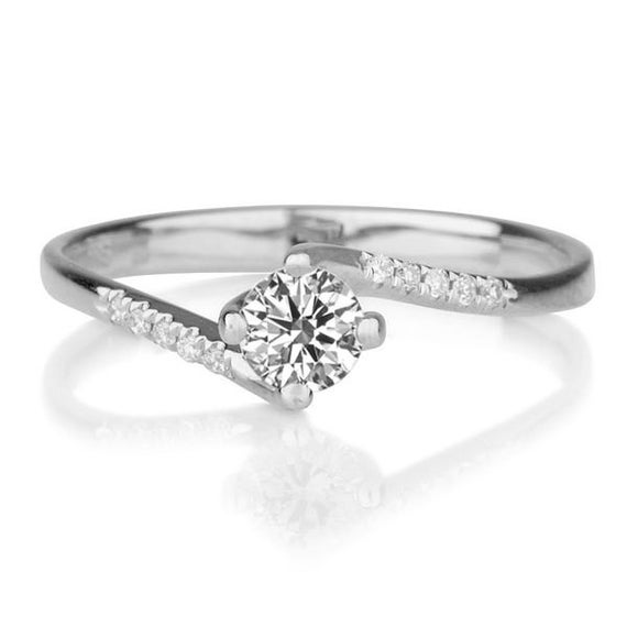 Twist Style Moissanite Engagement Ring 14K White Gold Ring