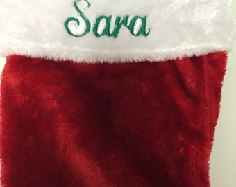 "Inventory Reduction  SALE Traditional Custom 18"" Personalized Stocking Plush  Red and White Stocking With a Foldover Cuff"
