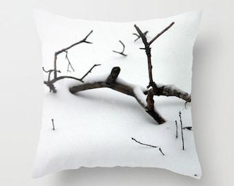 Branch in Snow, Pillow Cover, 16x16,18x18,20x20,home decor,winter decor interior design,grey,black, white,winter,nature,snow,Country Living