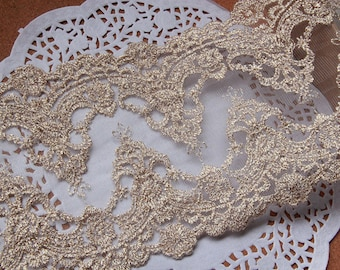 Gold Lace Trim, Vintage Lace Fabric Trim, Embroidery Lace Trim Gold Mesh Lace