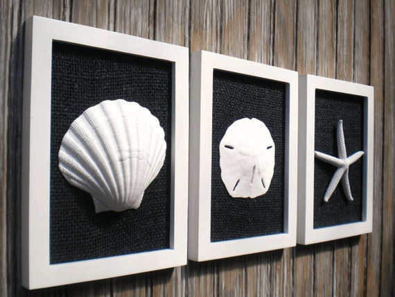 Cottage Chic Set Of Beach Wall Art Bathroom Decor Sea Shell Home