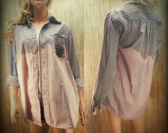 Ombre shirt, Boyfriend shirt, wrangler shirt, Bleached shirt, grunge shirt, size large,  # 3
