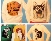 PDF knitting pattern for instarsia picture dog sweaters 5 designs dk or 4 ply children and adults sizes