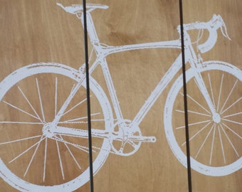 Road Bike / Street Bike Wall Art /  Bicycle Screen Print / Wood Painting Wall Art on Stained Solid BIRCH 3/4 inch thick
