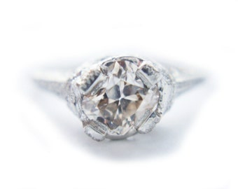 Art Deco Diamond Ring Champagne Diamond Ring Diamond Platinum Ring