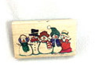 Snow Buddies Rubber Stamp by Stampressions, Wood Mounted, , Snowmen Stamp, Snowman Stamp, Holiday Stamp