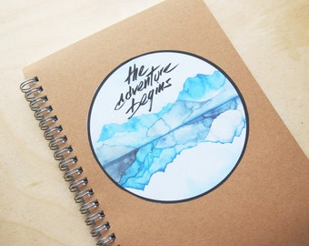 "Travel Journal ""the adventure begins"" / Sticker with print of watercolor painting / with customized label"