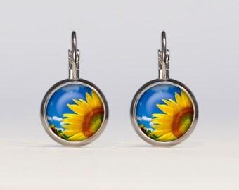 Sunflower earrings 16mm Sunflower Jewelry french earrings dangle earrings