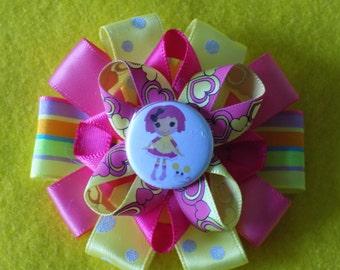 Lalaloopsy Hair bow clip barrette pink yellow