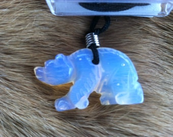 Carved stone Bear necklace.  Made of moon stone